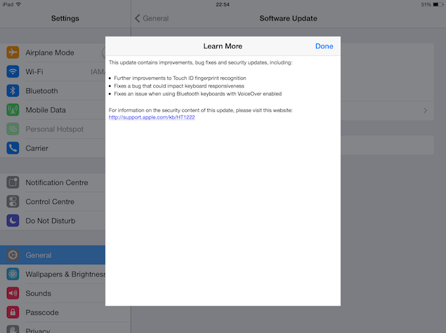 iOS 7.1.1 update now available for download; brings Touch ID fixes and more