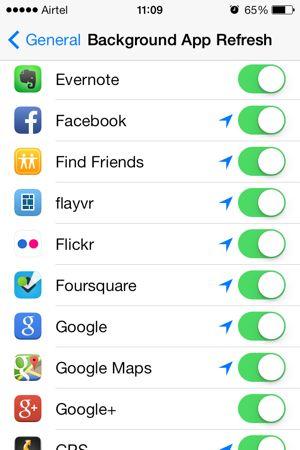 iOS 7 background app refresh controls