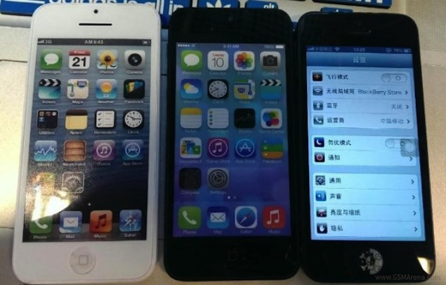 iPhone 5S and iPhone 5C pictured alongside iPhone 5 in leaked images