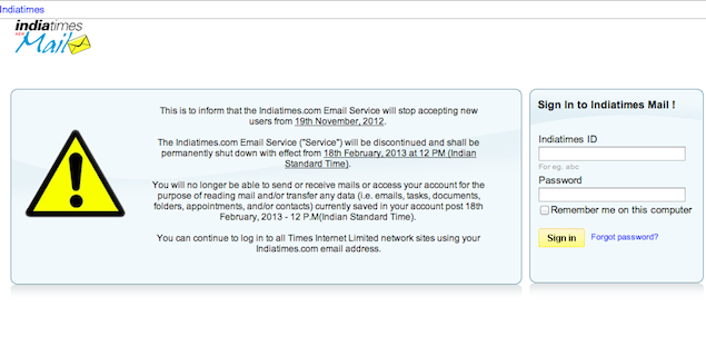 Indiatimes Mail to shut down by February 2013
