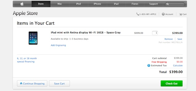 iPad mini with Retina display now available on Apple's online store