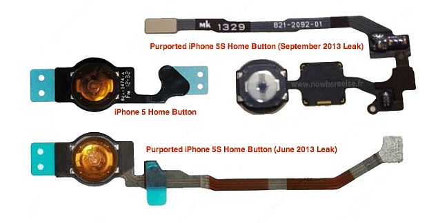 iPhone 5S home button assembly picture suggests fingerprint scanner support