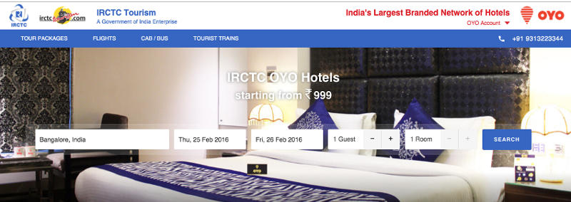 IRCTC, Oyo Rooms Partner to Offer Room Bookings to Train Passengers