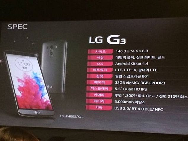 LG G3 Specifications Detailed in Alleged Official Presentation Slides