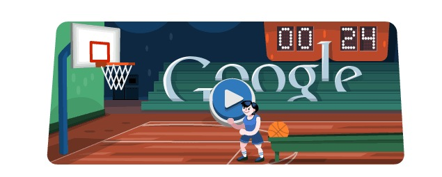 780a75230cfc London 2012 basketball  Olympics day 13 Google doodle game ...