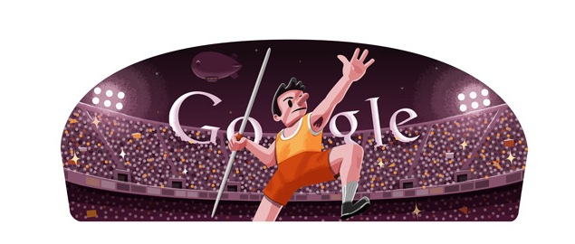 London 2012 javelin Google doodle a first