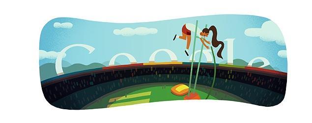 London 2012 pole vault: Olympics day 9 Google doodle