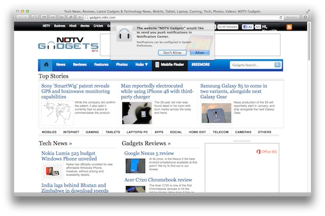 OS X Mavericks users can now opt for news alerts from NDTV.com, NDTV Gadgets