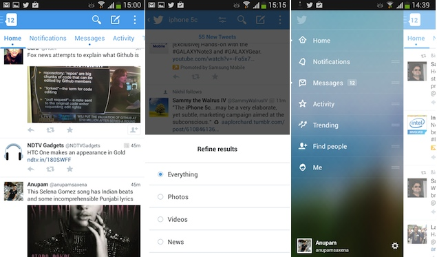 Twitter beta app for Android sports a brand new interface, brings additional features