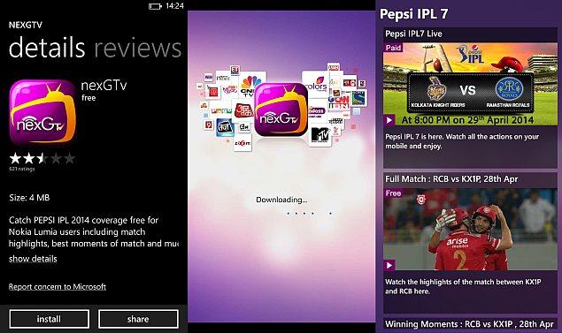 IPL 2014: Nokia X, Lumia devices get nexGTv app for live
