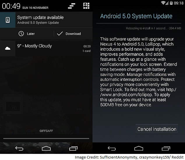Android 5.0 Lollipop OTA Update Rollout Begins for Google Nexus 4