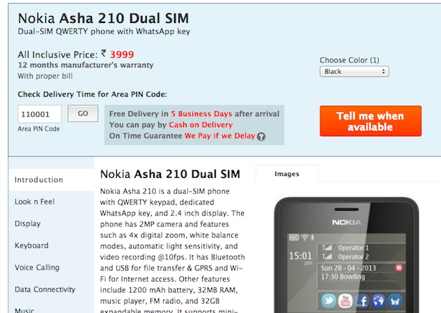 Nokia Asha 210 listed online for Rs  3,999, but not officially