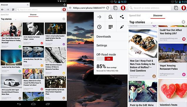Opera browser for Android updated with video chats via WebRTC, and