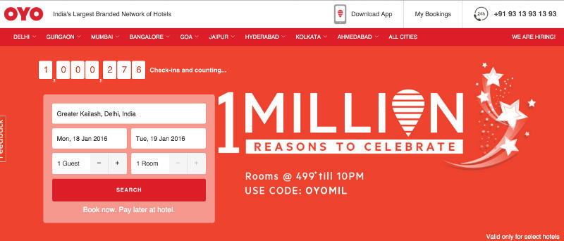 Oyo Rooms Claims 1 Million Check-Ins; Celebrates With a Flash Sale ...
