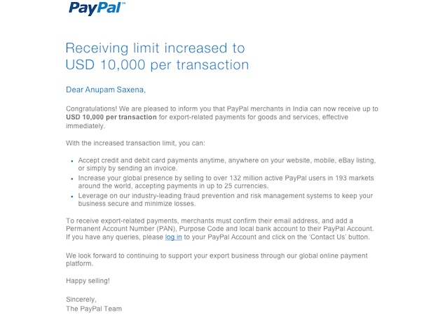 PayPal now allows Indian merchants to receive up to $10,000 in one