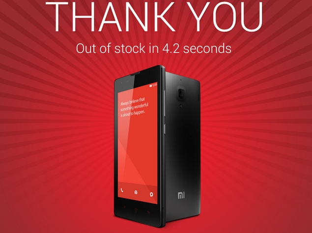 1,00,000 Redmi 1S Smartphones Go Out of Stock in 4.2 Seconds: Xiaomi