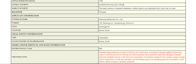 Samsung's trademark filing for 'Galaxy Gear' reveals the name of its upcoming smart watch
