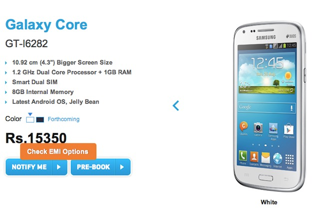 Samsung Galaxy Core gets a price in India, shipping July 1