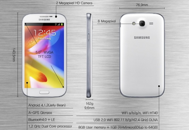 Samsung unveils Galaxy Grand with 5.0-inch display, Android 4.1