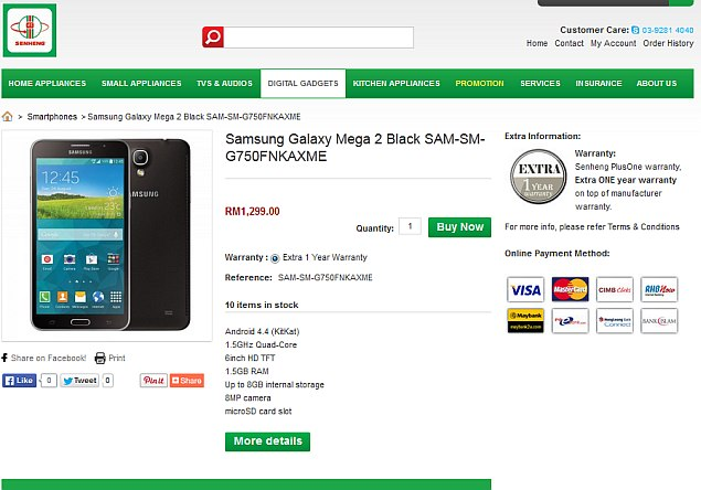 Samsung Galaxy Mega 2 Goes on Sale in Malaysia Ahead of Official Launch