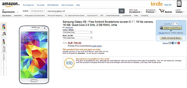 Samsung Galaxy S5 listed at two online retailers in Europe with pricing