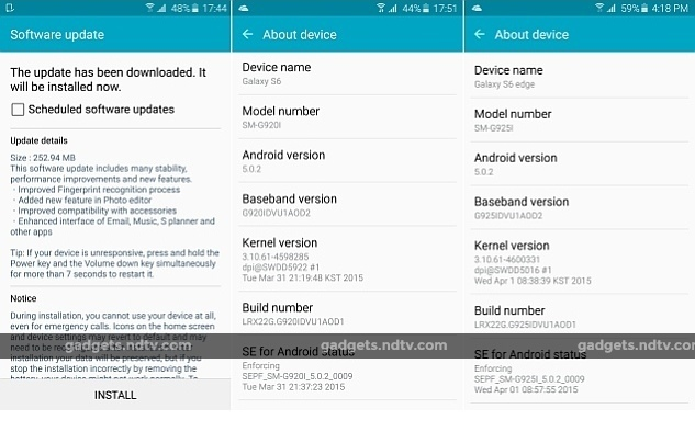 Galaxy s6 edge receives volte and vowifi through firmware update.