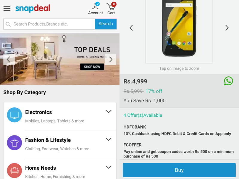Snapdeal Counters Flipkart Lite With Snap-Lite Mobile Website