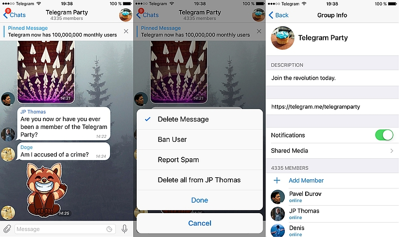 Telegram Update Boosts Size of Supergroups to 5,000 Members