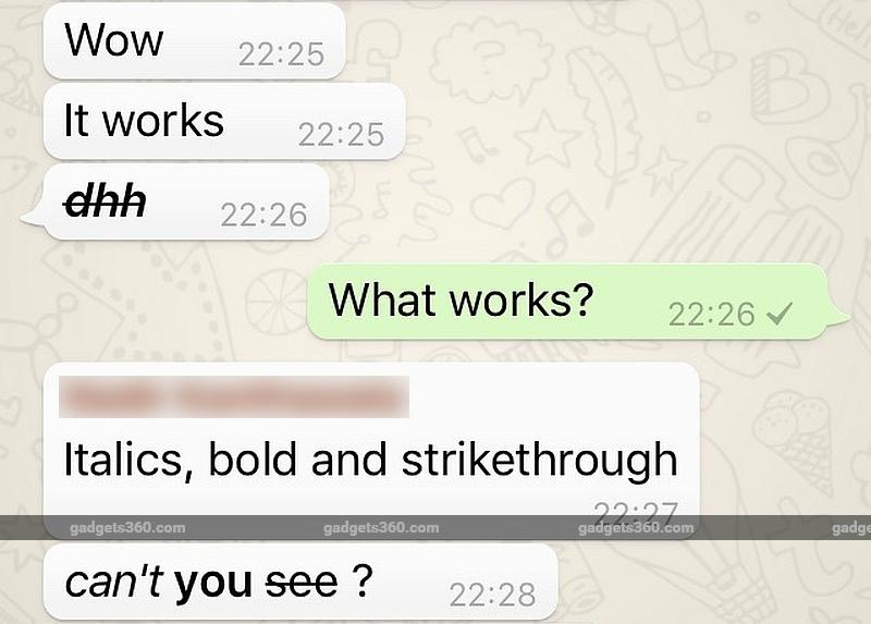 WhatsApp for iOS Gets Bold, Italics, Strikethrough Text Formatting Options
