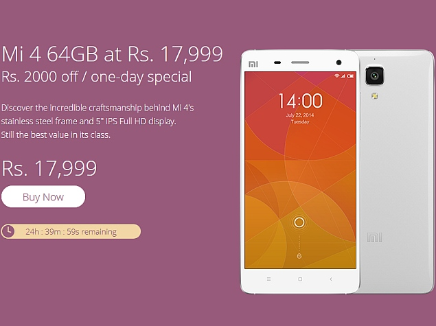 Xiaomi Mi 4 64GB Price in India Slashed for a Day