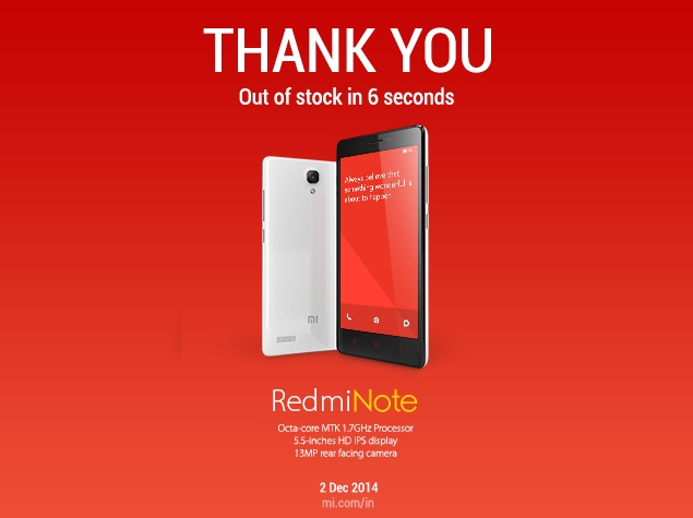 50,000 Redmi Note Units Go Out of Stock in 6 Seconds, Says Xiaomi