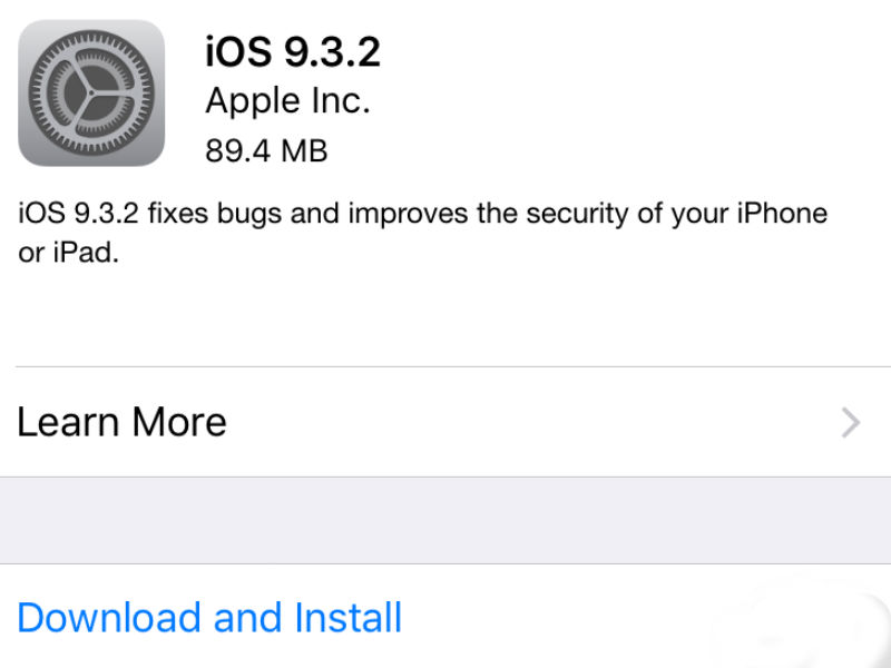 iOS 9.3.2 Now Available for Download; Brings Minor Improvements, Fixes