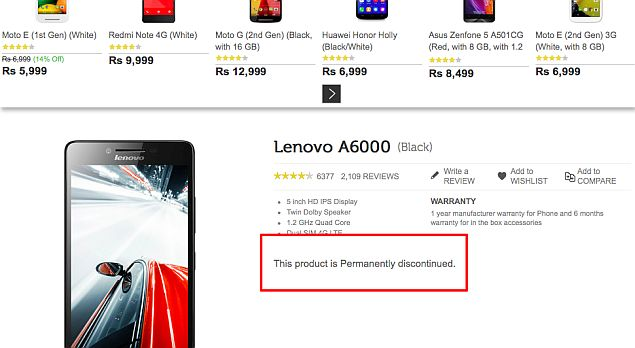 Lenovo Says A6000 Smartphone Not Discontinued in India | Technology News