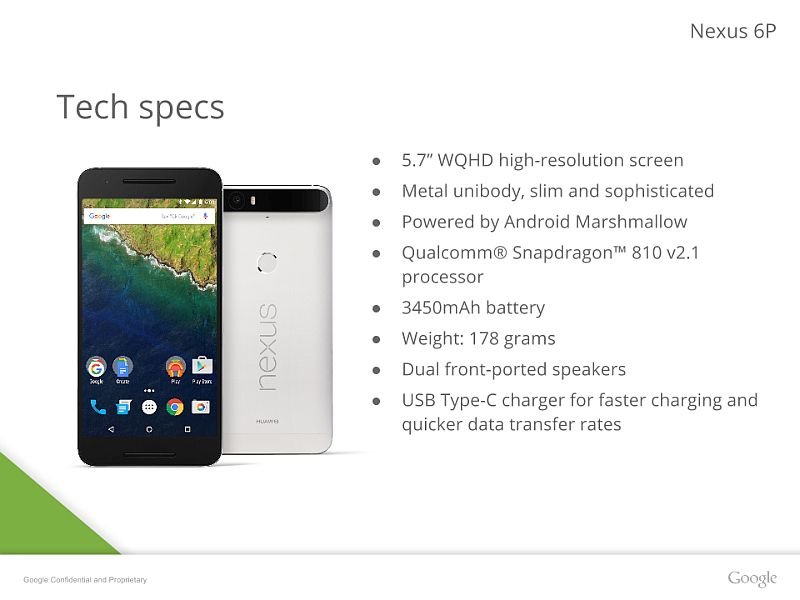 Nexus 6P Detailed in Leaked Presentation Slides Ahead of Tuesday Launch