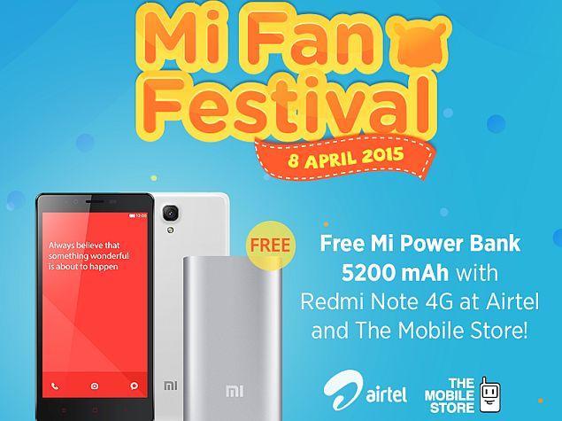 Xiaomi Redmi Note 4G Bundled With Free 5200mAh Mi Power Bank on Wednesday