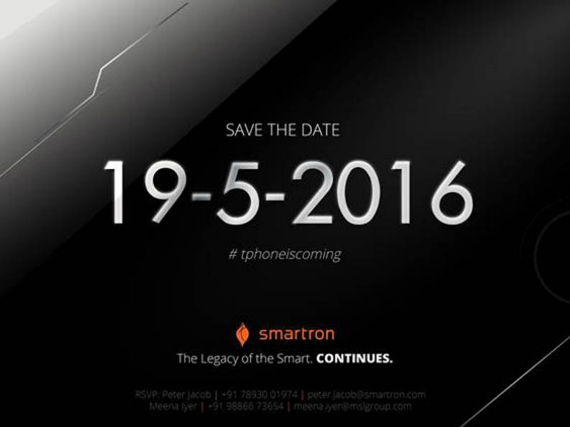 Smartron t.phone India Launch Set for May 19 Event