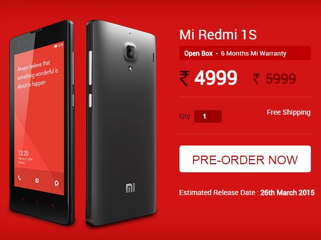 Xiaomi Redmi 1S Refurbished, Unboxed Units to Go on Sale Thursday